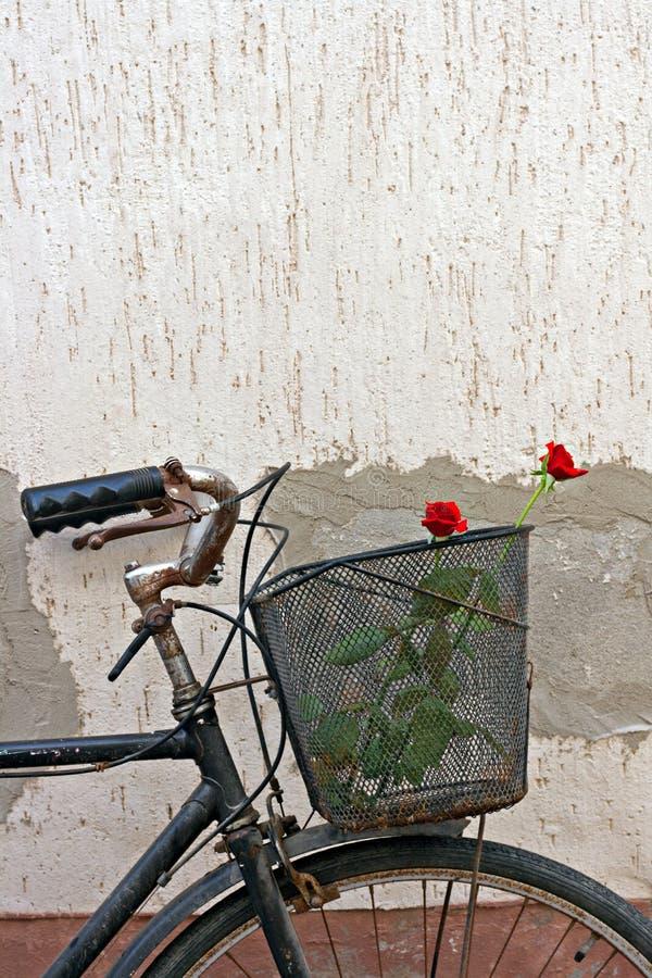 Röda ro i korg av gammal rostig cykel 6 fotografering för bildbyråer