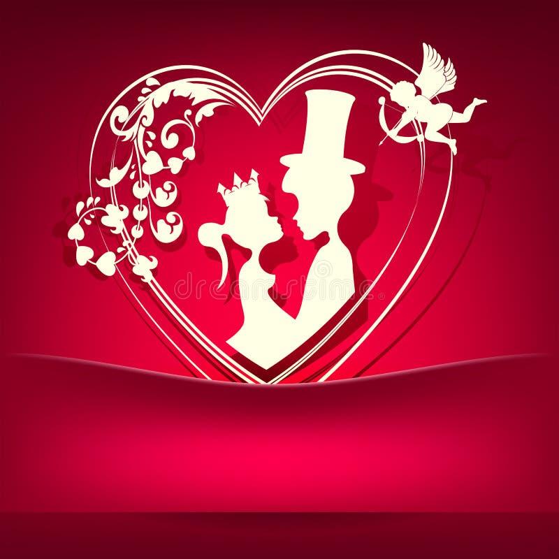 Röda rosa färger planlägger med en kontur av hjärtan med två vänner stock illustrationer
