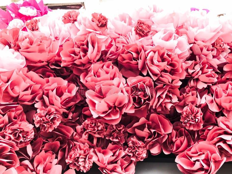 Röda rosa härliga naturliga frodiga blommor av rosa pionkronblad grönska för abstraktionbakgrundsgentile textur fotografering för bildbyråer