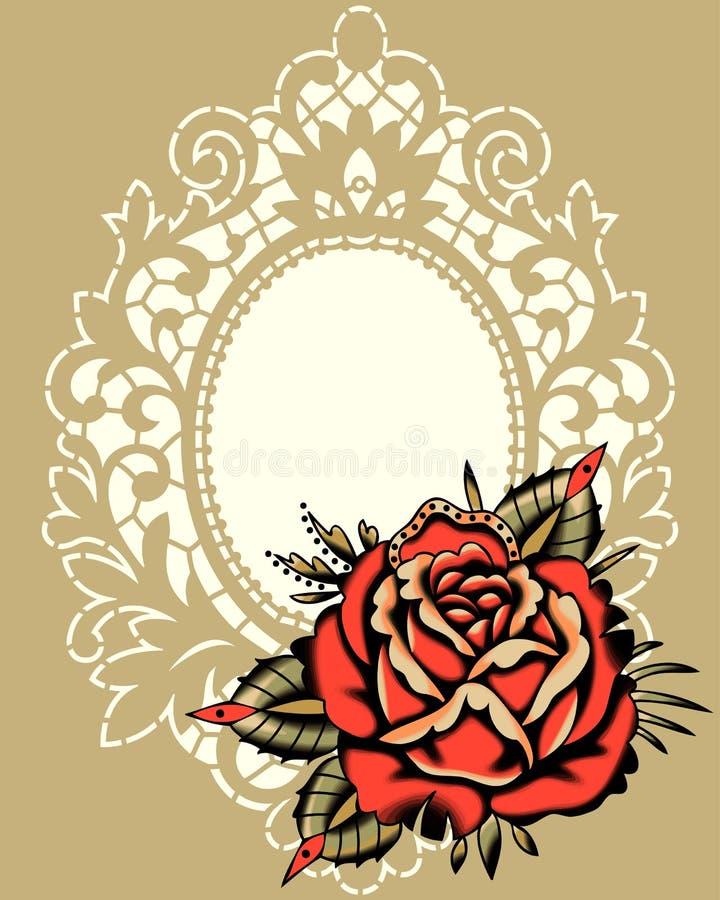 Röda Rose Beige Lace Frame royaltyfri illustrationer