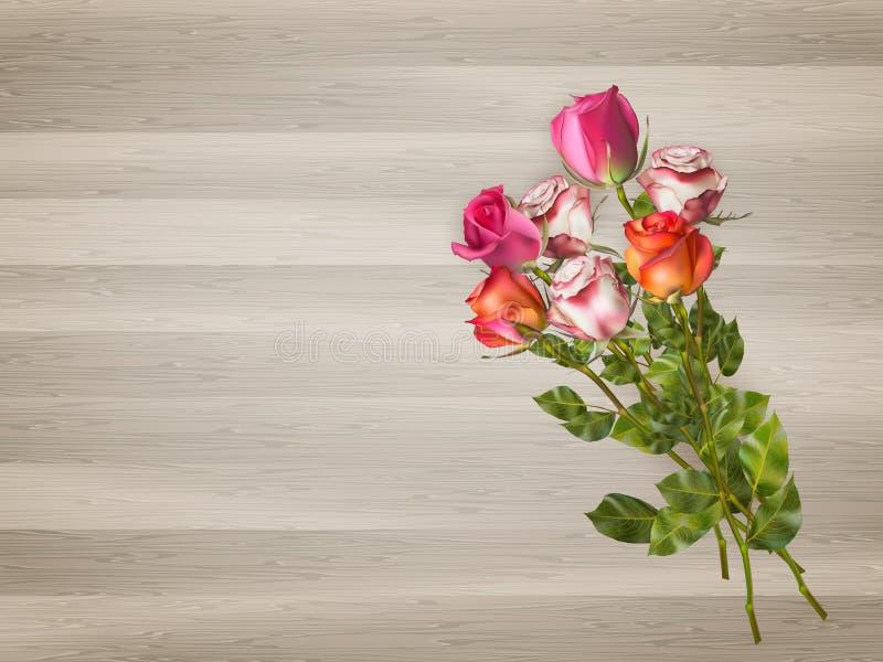 Röda rosor på en träbakgrund 10 eps stock illustrationer