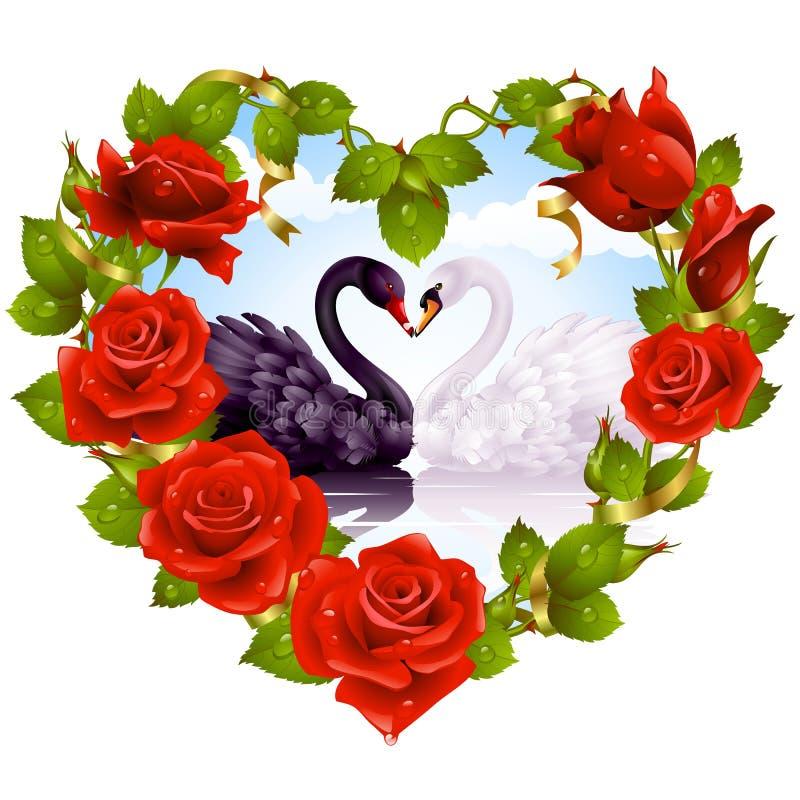 röda roswans för par stock illustrationer