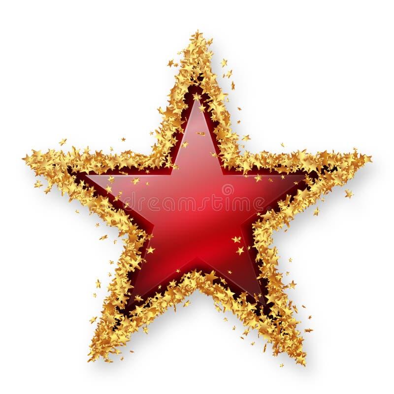 Röda Ruby Coloured Gemstone Star med den guld- ung stjärnagränsen royaltyfri illustrationer