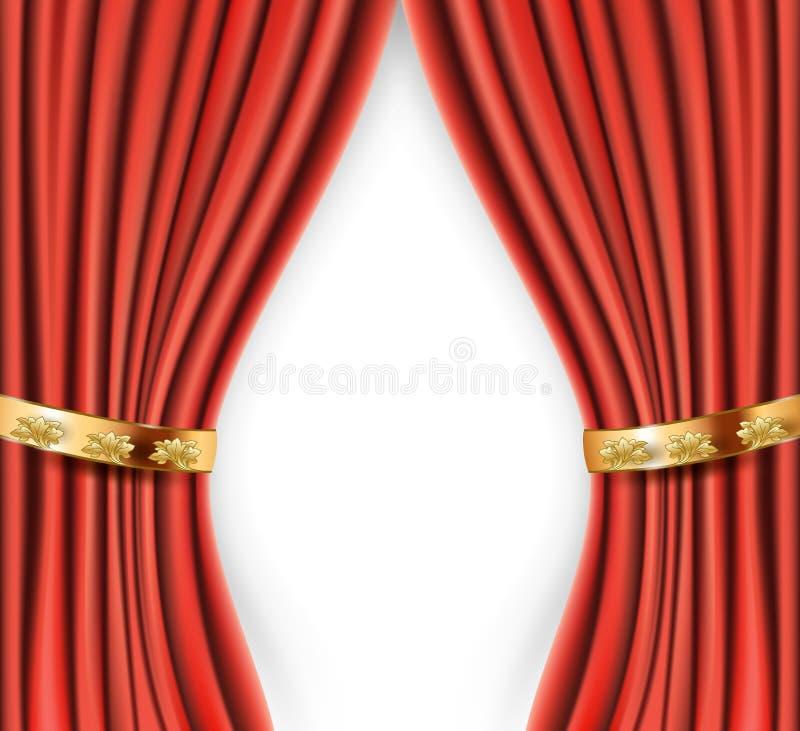 Röda satänggardiner med guld- bakgrund vektor illustrationer