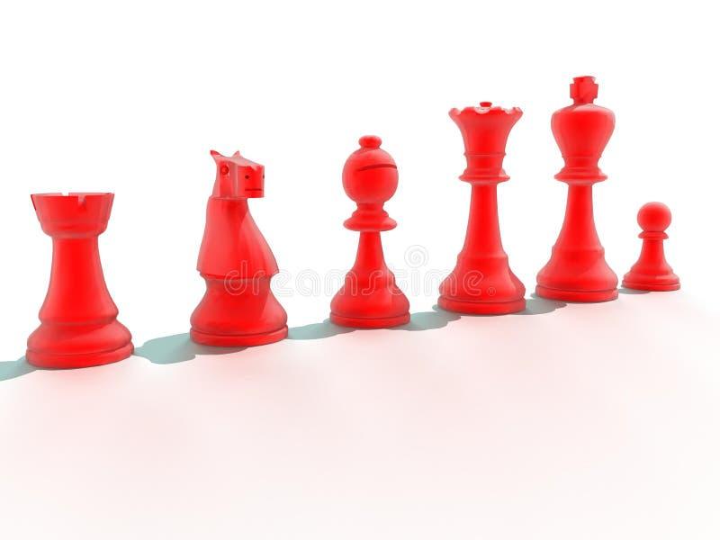 Röda schackstycken royaltyfria foton