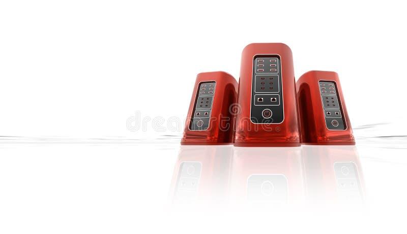 Röda serveror för att vara värd plats- eller titelradbanret, toppen dator som isoleras på vit bakgrund med reflexioner 3D illustr vektor illustrationer