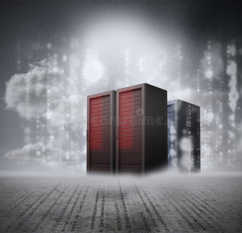 Röda serveror med grå bakgrund arkivbild