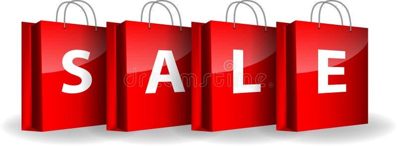 Röda shoppingpåsar med ordförsäljningen royaltyfri illustrationer