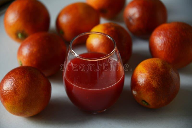 Röda Sicilian apelsiner runt om ett exponeringsglas med ny fruktsaft royaltyfria bilder