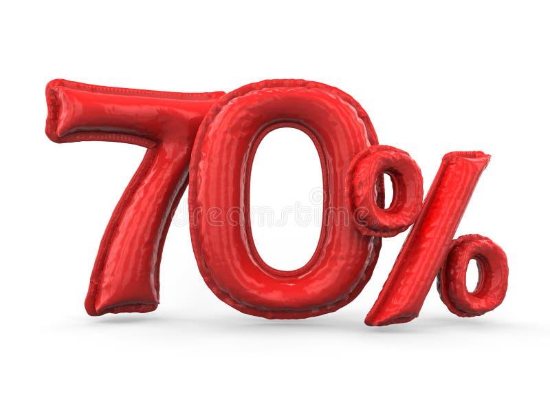 Röda sjuttio procent gjorde av uppblåsbara ballonger Procentuppsättning 3d stock illustrationer