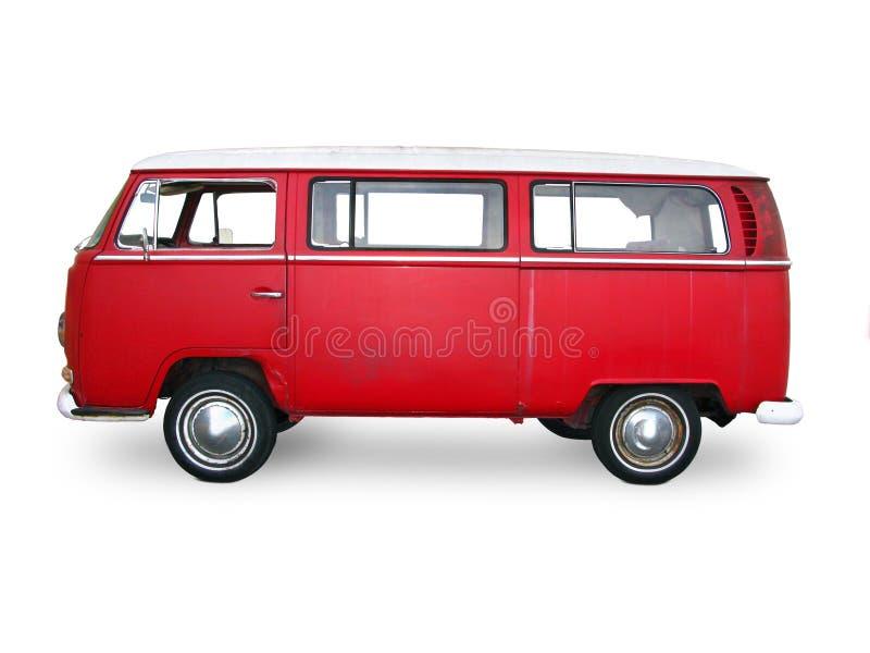 röda skåpbil tappning arkivfoto