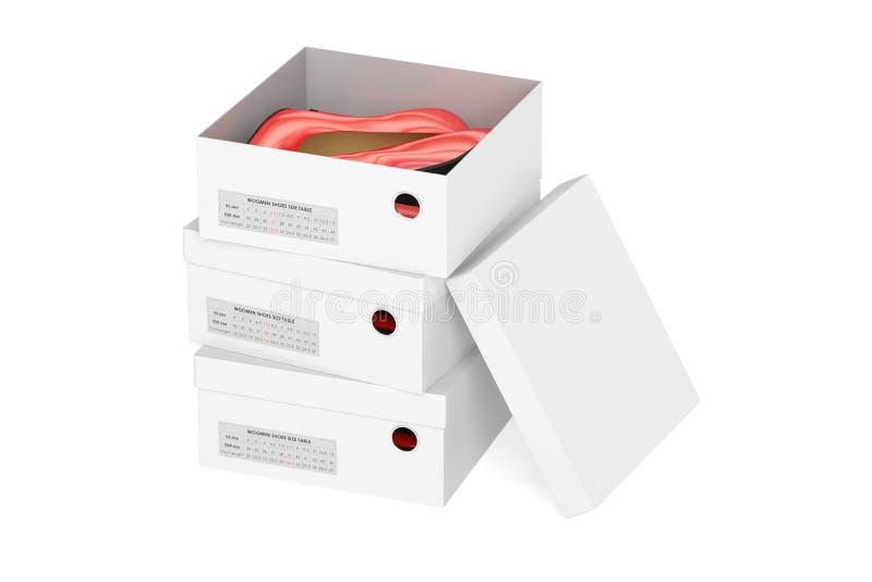 Röda skor för hög häl i shoeboxesna, tolkning 3D stock illustrationer