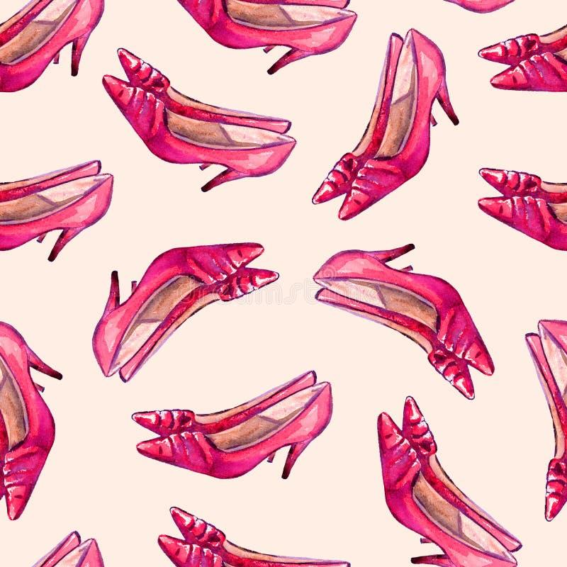 Röda skor för läderkattungehäl, sömlös modell på mjuk bakgrund vektor illustrationer