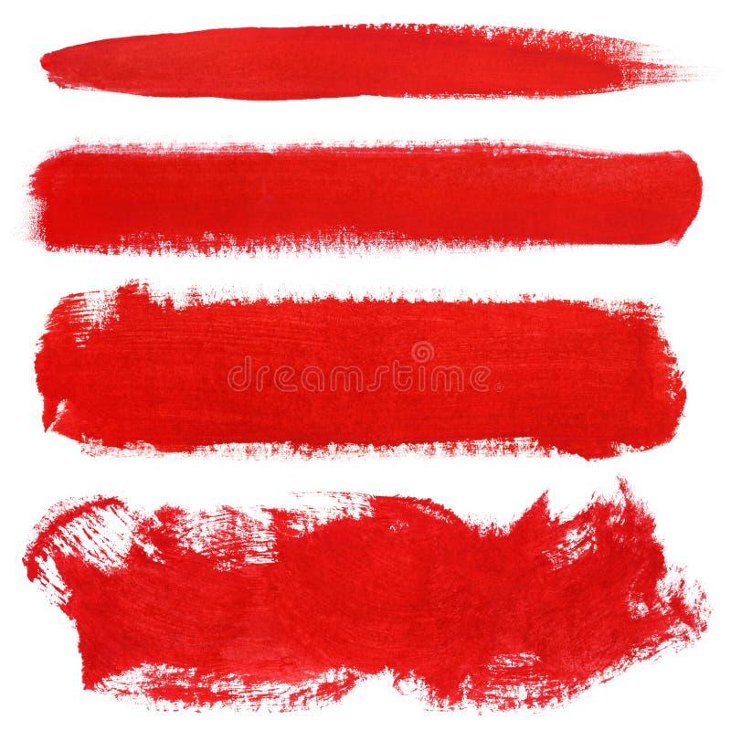 Röda slaglängder av gouachemålarfärgborsten royaltyfri bild