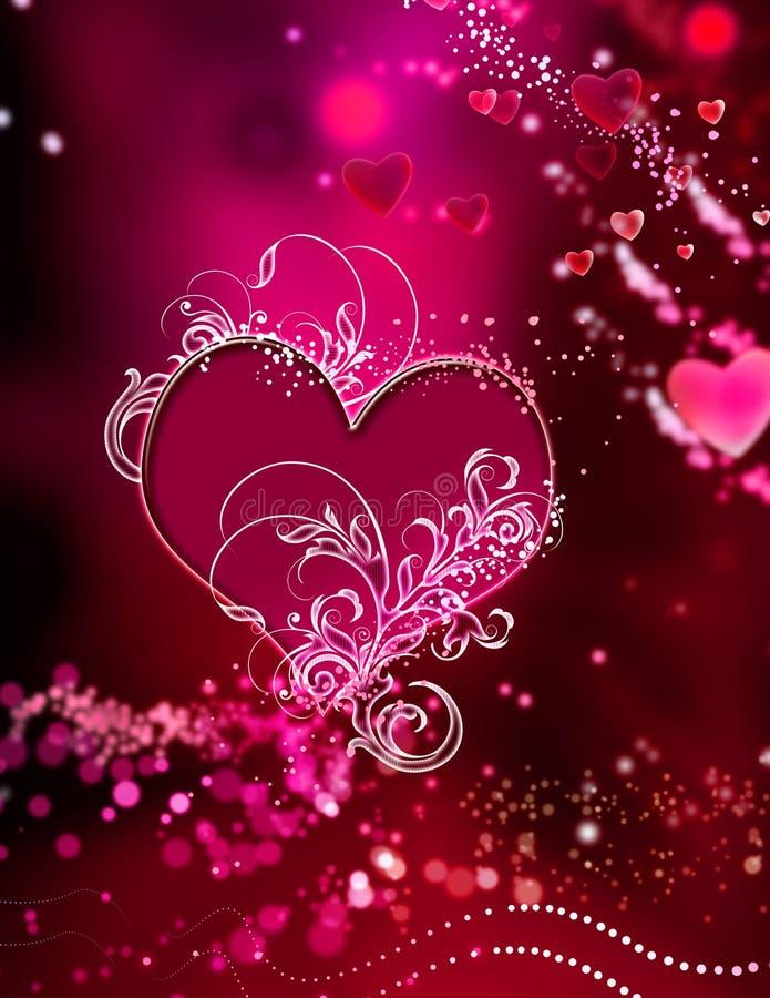 röda sparkles för abstrakt hjärtapink som bedövar swirl royaltyfri illustrationer