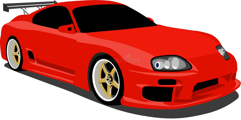 röda sportar supra toyota för bil vektor illustrationer