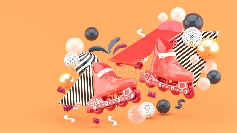 Röda srollerskridskor och röd skateboard under färgrika bollar på en orange bakgrund stock illustrationer