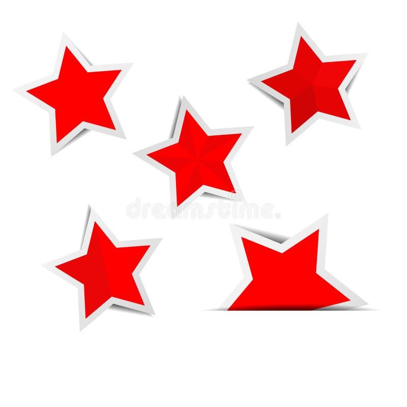 Röda stjärnapappersklistermärkear med skuggor stock illustrationer