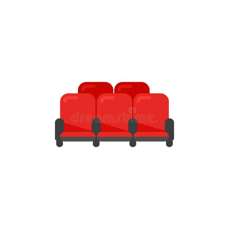 Röda stolar för bioteater i plan stil gears symbolen stock illustrationer