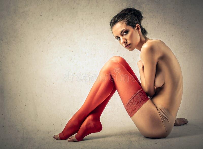 röda strumpor arkivfoton
