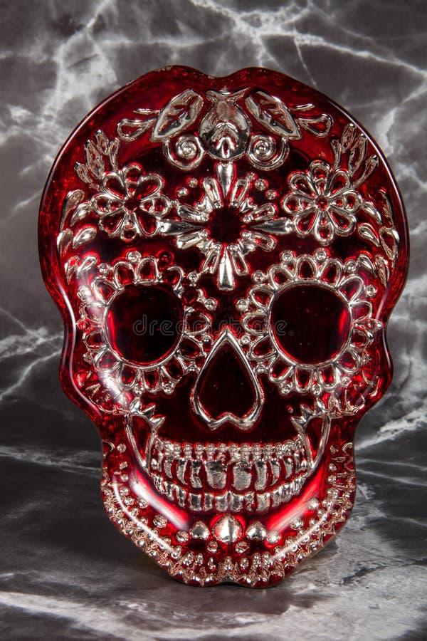 Röda Sugar Skull royaltyfri bild