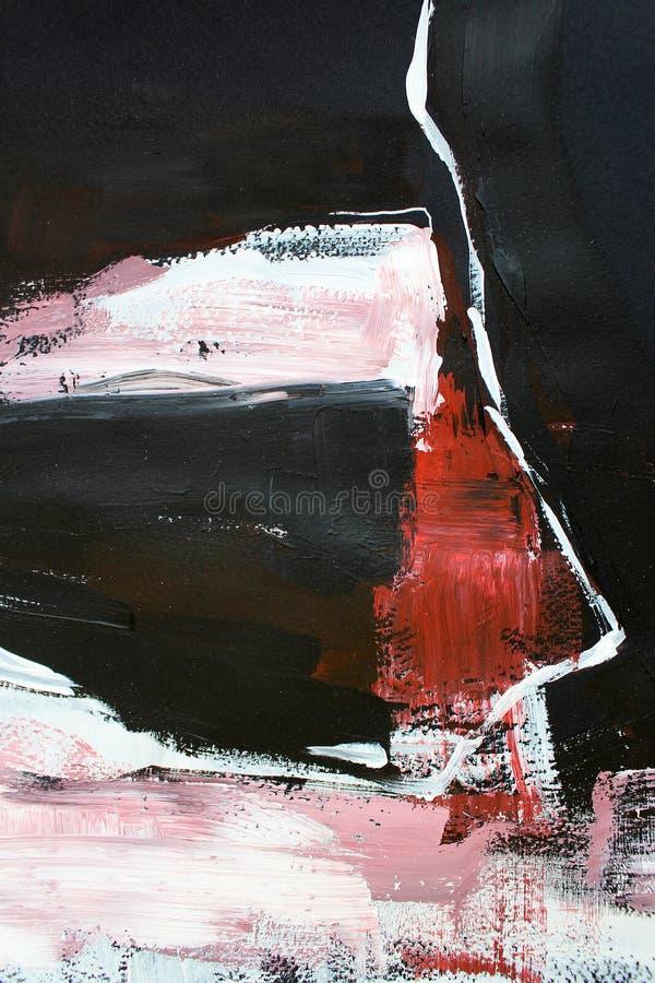 Röda svarta färger på kanfas abstrakt konstbakgrund Färgtextur Fragment av konstverk abstrakt kanfasmålning royaltyfri illustrationer