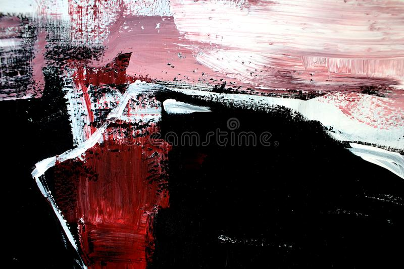 Röda svarta färger på kanfas abstrakt konstbakgrund Färgtextur Fragment av konstverk abstrakt kanfasmålning fotografering för bildbyråer