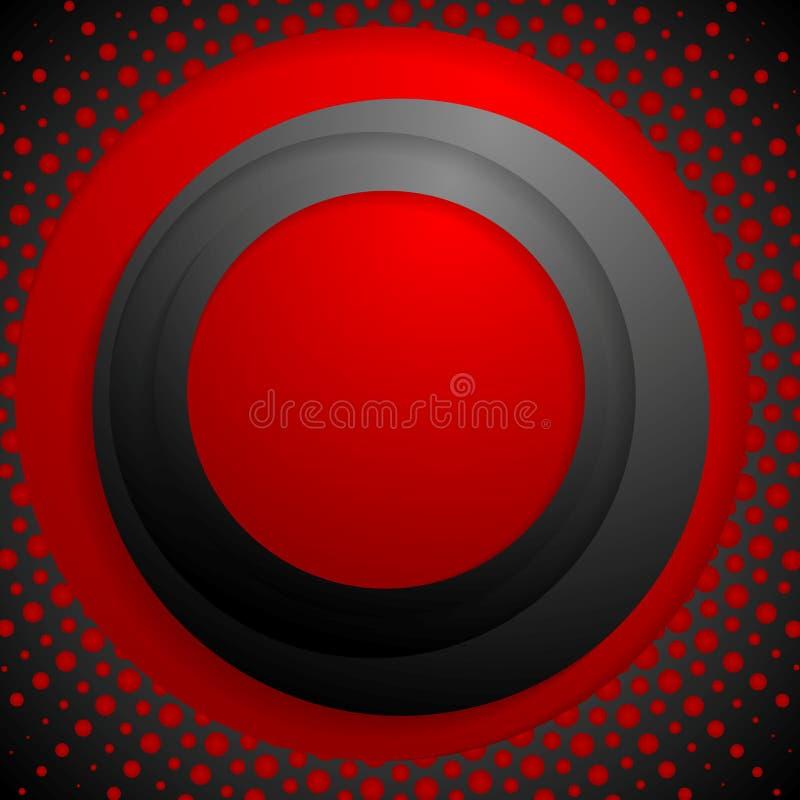 Röda svartcirklar med grungehalvton stock illustrationer