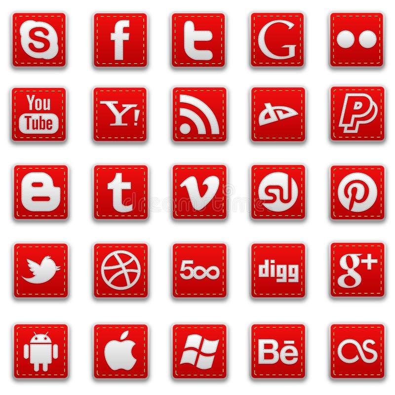 Röda sydde sociala massmediasymboler royaltyfri bild