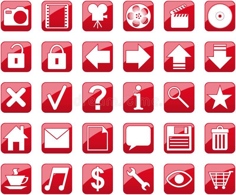 röda symboler stock illustrationer