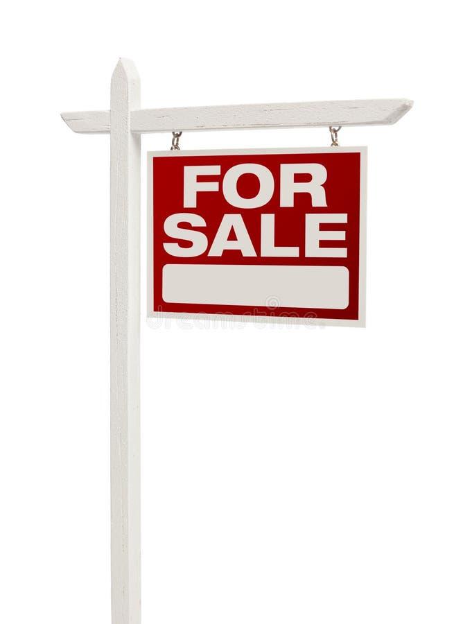 Röda till salu Real Estate undertecknar på vit med den snabba banan royaltyfria bilder