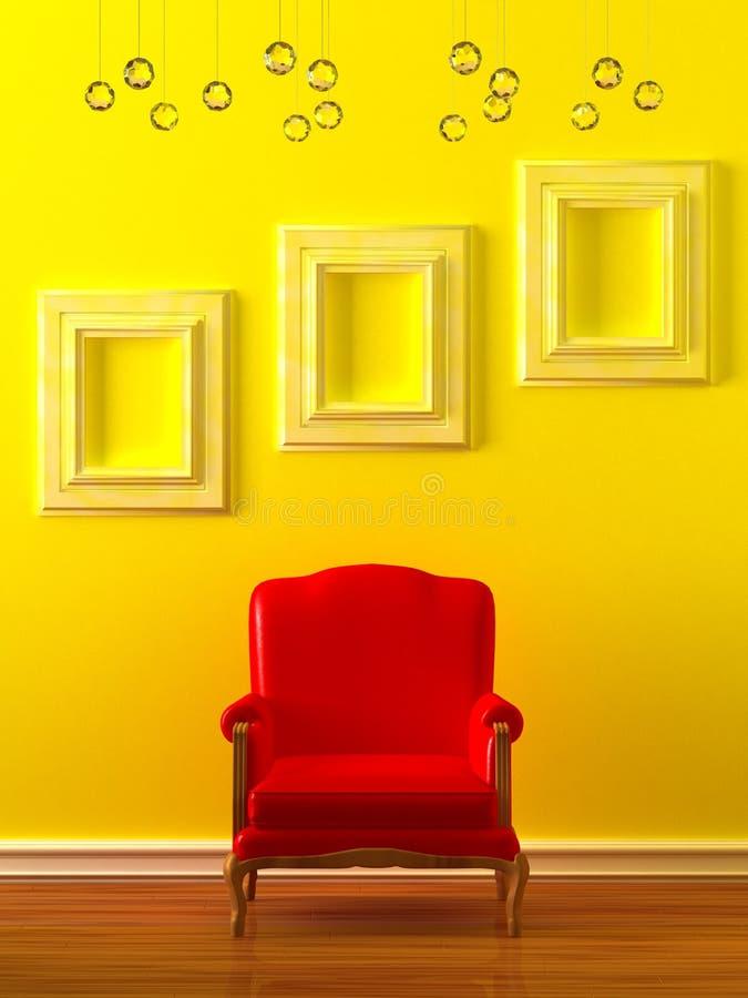 röda tomma ramar för stol stock illustrationer
