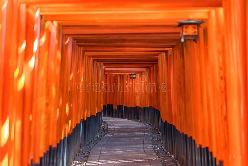 Röda Tori Gate av den Fushimi Inari Taisha Kiyomizu-dera templet i Ky fotografering för bildbyråer
