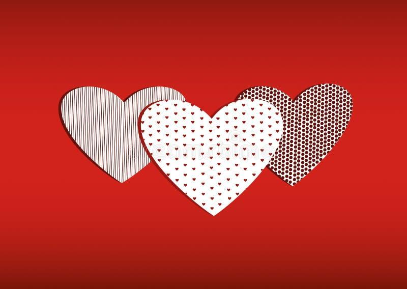 Röda tre hjärtor på med bilden valentin för dag s vektor royaltyfri illustrationer