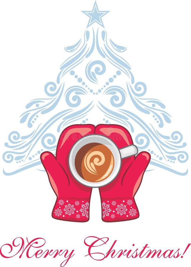 Röda tumvanten med en kaffekopp på bakgrunden av julgranen royaltyfri illustrationer