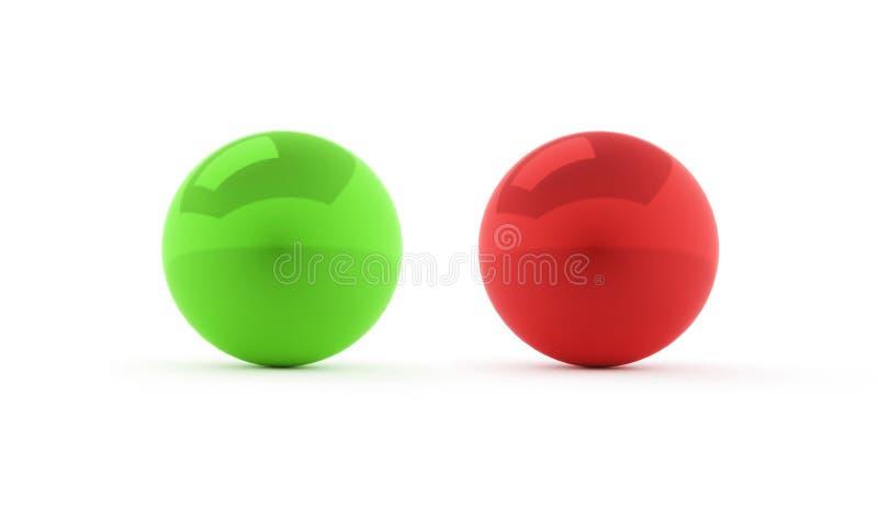 Röda två och gröna sfärer på vit vektor illustrationer