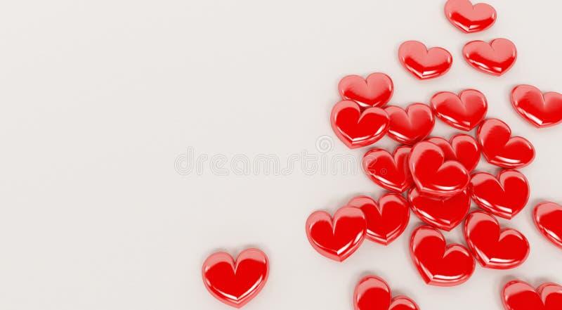 Röda valentinhjärtor som isoleras på en vit bakgrund royaltyfri illustrationer