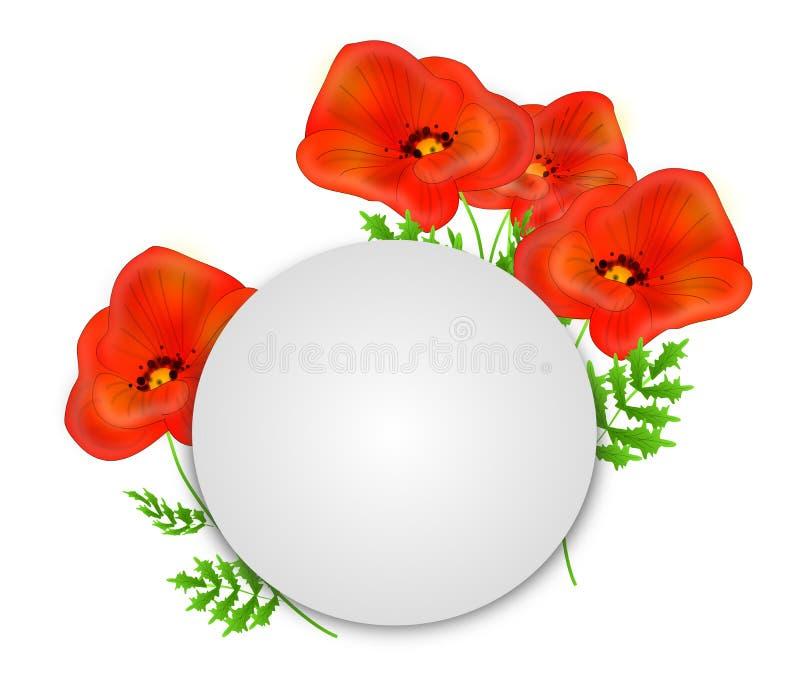 Röda vallmo med den vita cirkeln vektor illustrationer
