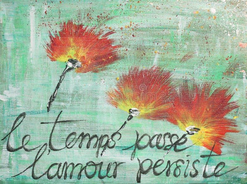 Röda vallmoblommor - räcka målad akryl med fransk aforism royaltyfri illustrationer