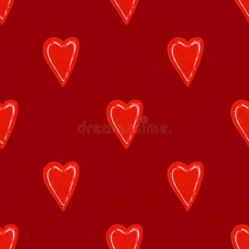 Röda vattenfärghjärtor seamless modell Bakgrund för dag för valentin` s royaltyfri illustrationer