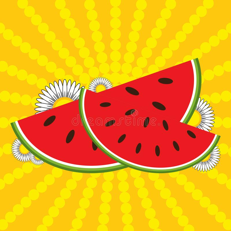 Röda vattenmelonskivor och blommor på en randig guling-apelsin bakgrund royaltyfri illustrationer