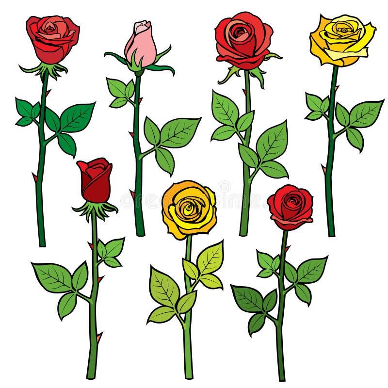 Röda vektorrosor med blommaknoppar som isoleras på vit tecknad filmcommandertryckspruta hans illustrationsoldatstopwatch stock illustrationer