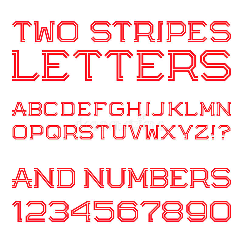 Röda vinkelformiga bokstäver och nummer av två band royaltyfri illustrationer
