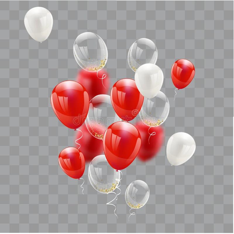 Röda vita ballonger, konfettibegreppsdesign 17 August Happy Independence Day royaltyfri illustrationer