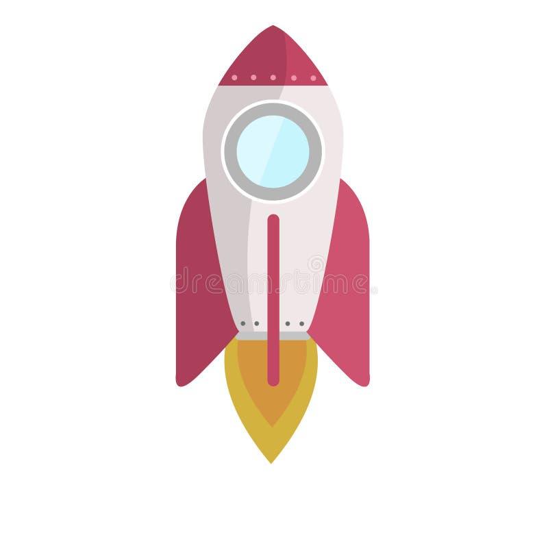 Röda Wing Rocket Illustration Blasts Off stock illustrationer