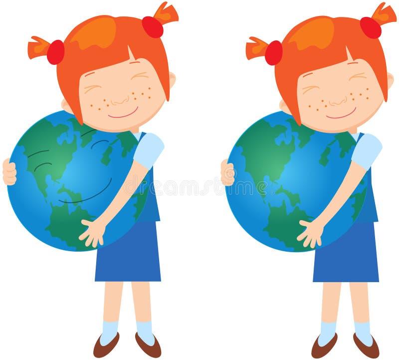 Rödhårig flicka med jord royaltyfri illustrationer