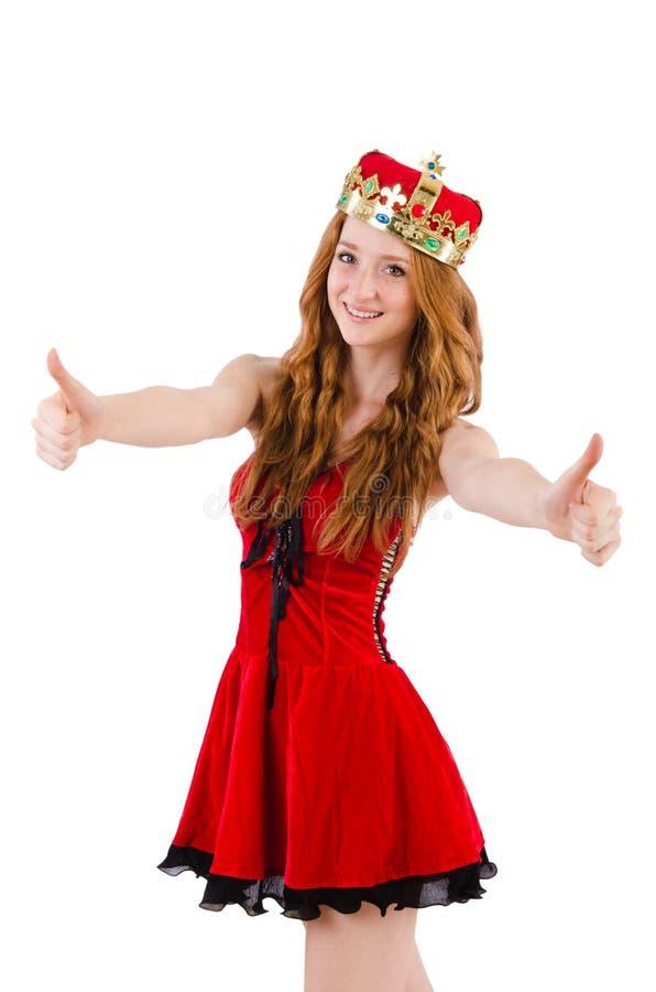 Rödhårig manflicka med kronan arkivfoton