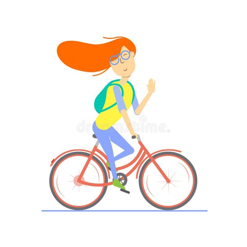 Rödhårig manflicka som rider en cykel och vinkar hennes hand royaltyfri illustrationer