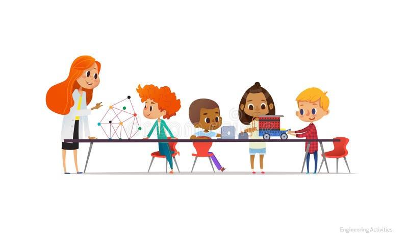 Rödhårig manlärarinna och skolbarn som står och sitter runt om tabellen, bygger och programmerar den robotic bilen royaltyfri illustrationer
