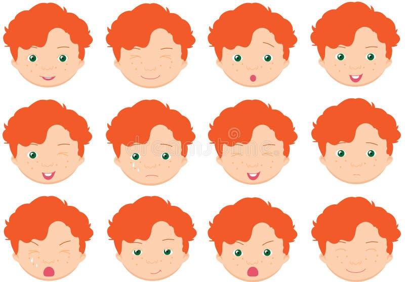 Rödhåriga pojkesinnesrörelser: glädje stock illustrationer